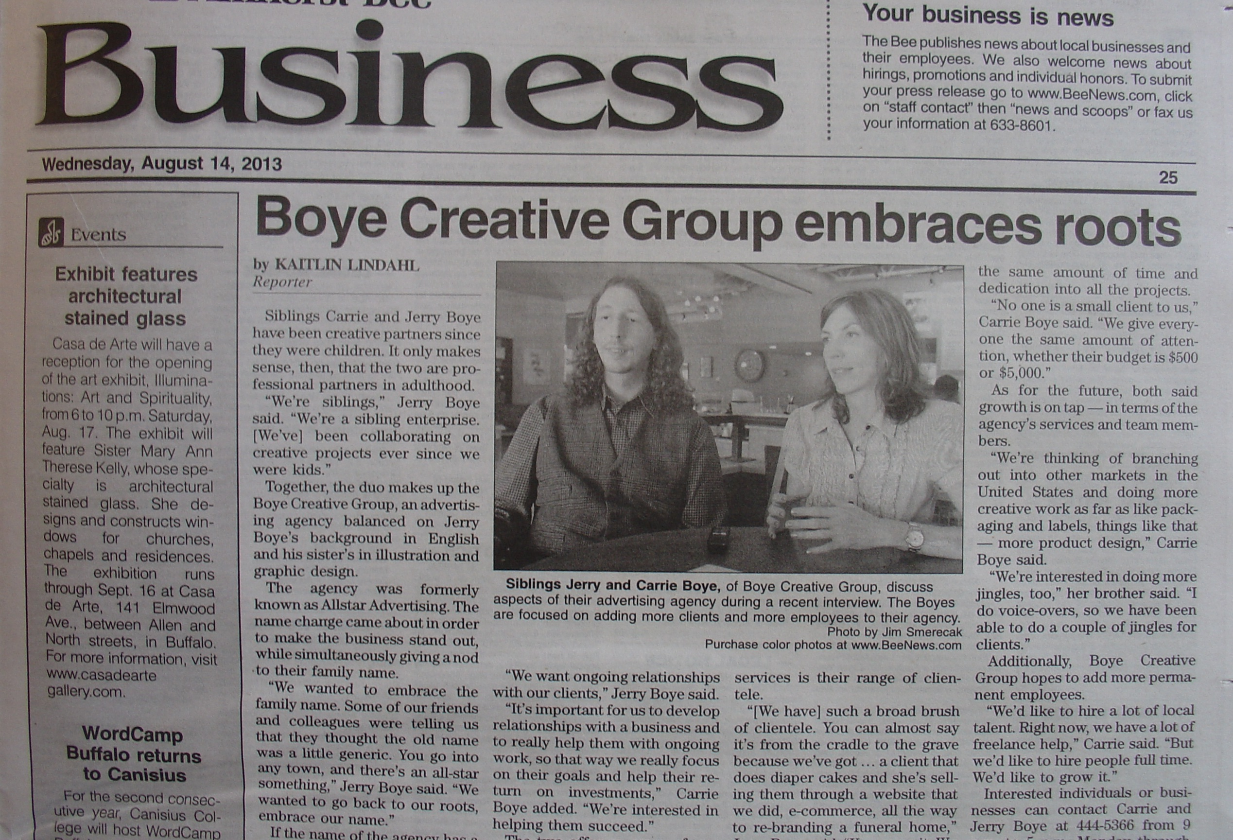 Carrie and Jerry Boye of Boye Creative Group Amherst, NY