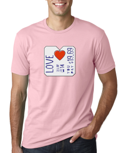 Menu0027s Red Heart Valentineu0027s Day Shirt (Light Pink)